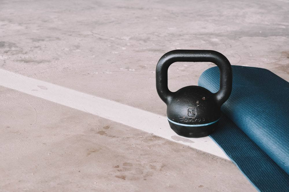 mat and kettlebell for home gym